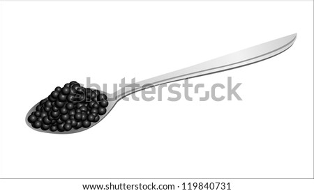 Black caviar on a spoon Raster version, vector file id:119746432