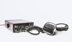 Black CB radio. Radio wave communication concept. Provision of information via walkie-talkies, remote radio.