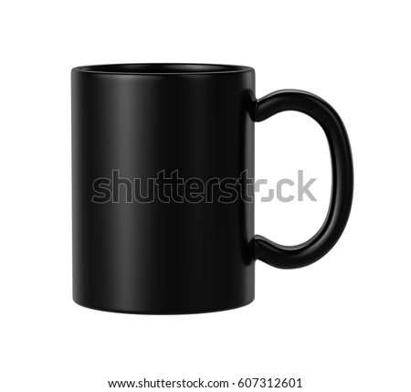 black ceramic mug on white background, 3D Rendering