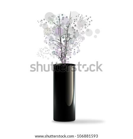 Black ceramic vase with a flower isolaed on white background. 3d illustration. high resolution