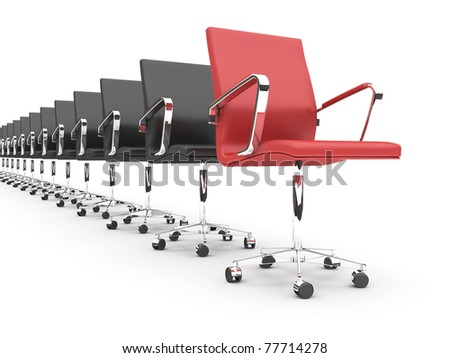 Black chairs in a row, with one red.