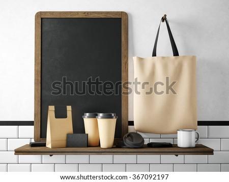 Black chalkboard on bookshelf with coffee set. 3d rendering