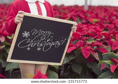 Black chalkboard with various winter decorations, text space and boy children
