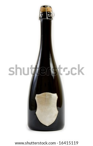Black champagne bottle with cork on white background. The label can be subtitled.