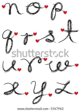 letters of the alphabet in cursive. charcoal cursive alphabet