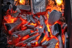 Black charcoal is burning red fire