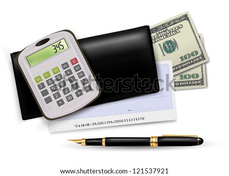 Black checkbook with check, calculator and dollars. Raster version