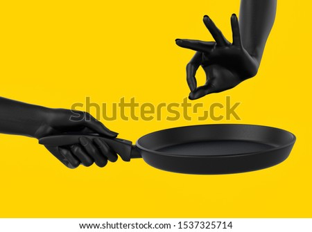 Black chef hands holding pan isolated on yellow, abstract illustration of cooking and seasoning process, fry something promo banner concept.  3d rendering