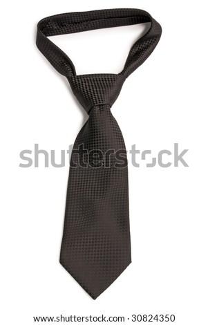 Black  chequer necktie. Isolated on white background.