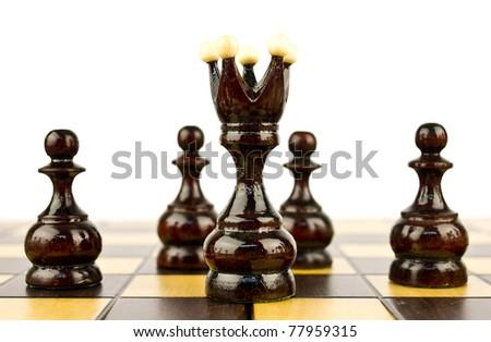 black chess isolated on white background