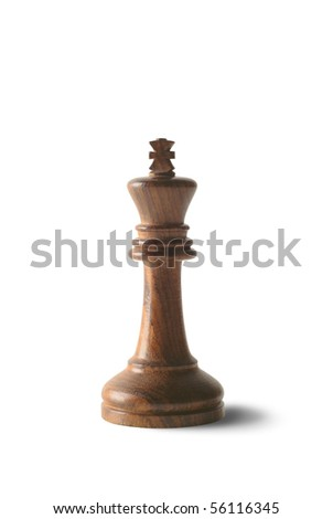 Black chess king isolated against white background.