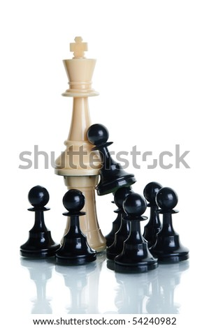 Black chess meeple against the King