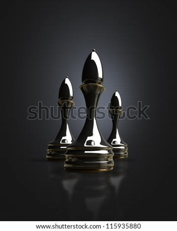 Black chess officer background 3d illustration. high resolution