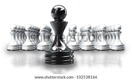 Black chess pawn abstract isolated on white background 3d illustration. high resolution