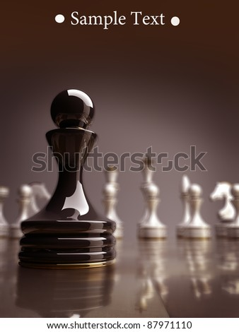Black chess pawn background 3d illustration. high resolution