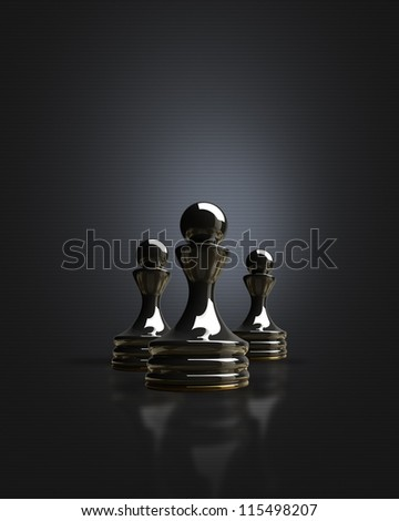Black chess pawn in the dark background 3d illustration. high resolution