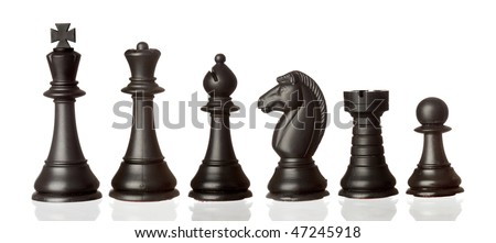 Black chess pieces in order of decreasing isolated on white background