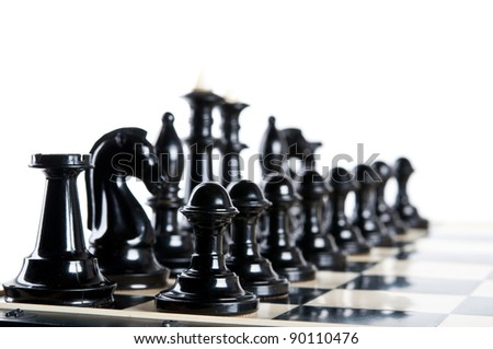 black chess pieces isolated on a white background