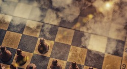 Black Chess Pieces Standing On Chessboard Ready For Battle With Unknown Opponent Covered With Fog. Business Strategy Concept. Collage, Panorama