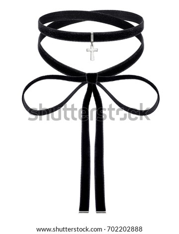 black choker with silver cross pendent on the white background