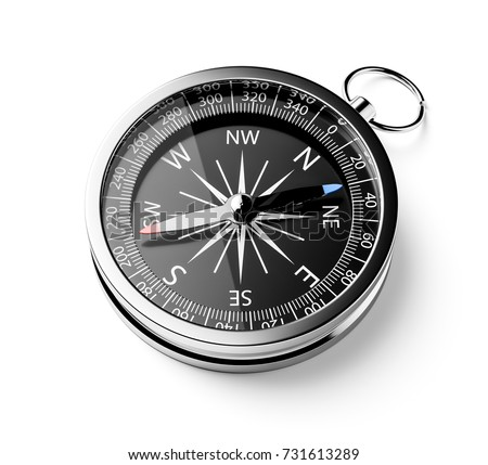 Black chrome compass isolated on white background. 3d rendering illustration