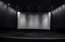 Black cinema white wide screen and auditorium seats