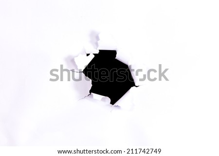 Black circle shape breakthrough paper hole with white background