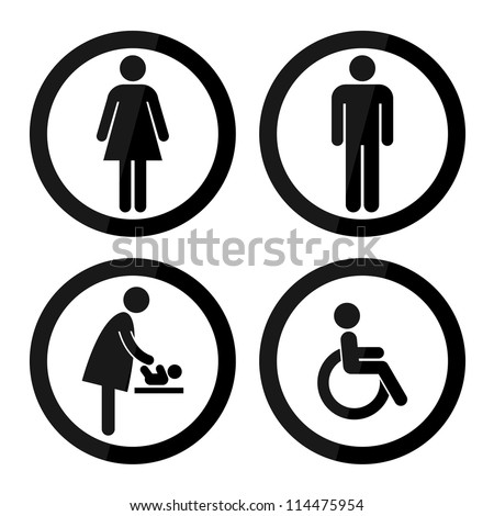 Black Circle Toilet Sign with Black Circle Border, Man Sign, Women Sign, Baby Changing Sign, Handicap Sign