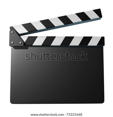 Black clap board movies symbol represented by an isolated film slate.