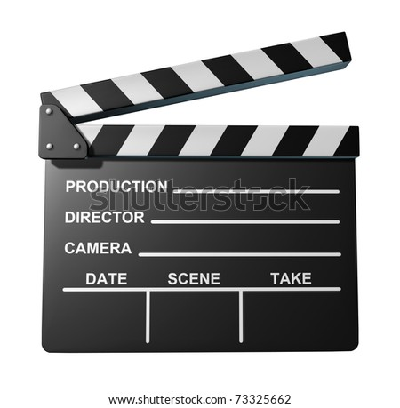Black clapperboard movies symbol represented by an isolated film slate.