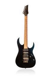 Black classic electric guitar front view isolated on white background