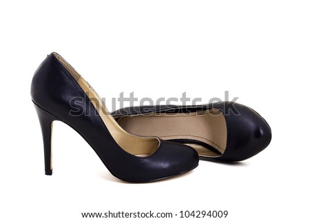 Black classic high heel shoes isolated on white
