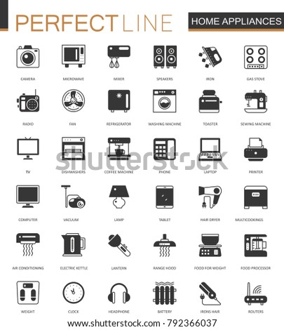 Black classic home appliances household web icons set.