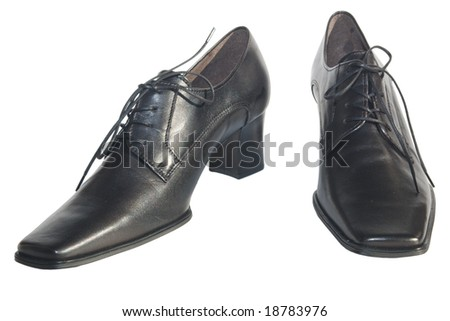 black classic womens leather shoes on white