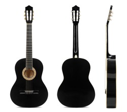 Black classical guitar front, back and side view isolated on white background.