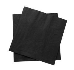 Black clean paper tissues on white background, top view