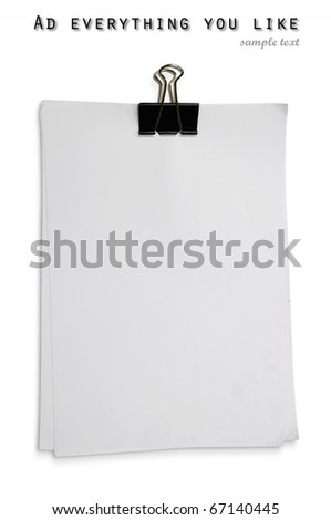 Black clip and White blank note paper on White background