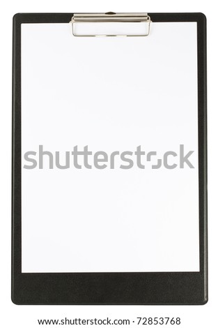 Black clipboard and papers isolated on white background