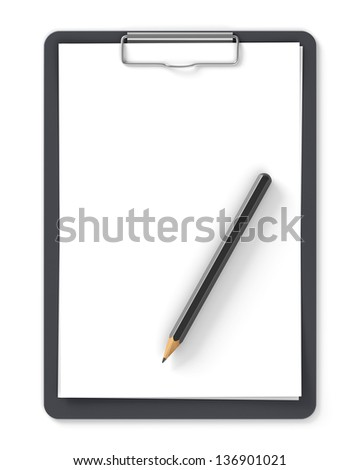 Black clipboard with blank sheets of paper and pencil isolated on white