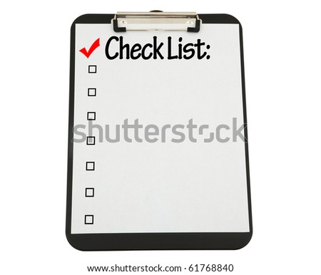 Black Clipboard With Check List Attached.  Clipping Path Included.