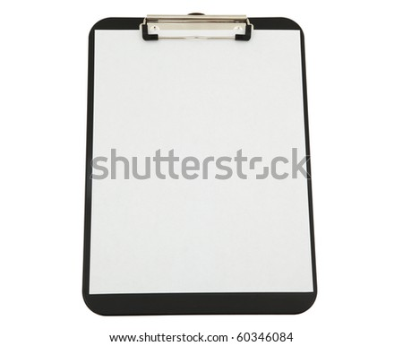 Black Clipboard With White Paper Isolated.  Clipping Path Included.