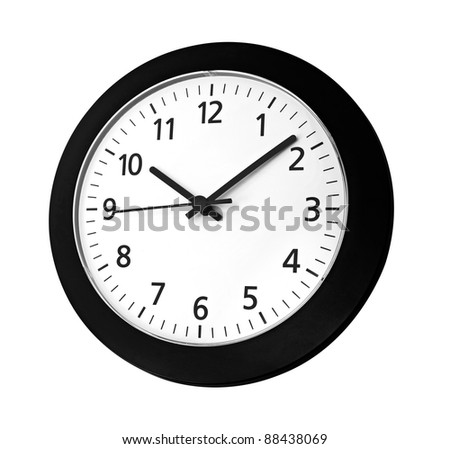 Black clock on wall reads ten past ten isolated on white background