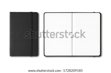 Photo of  Black closed and open notebooks mockup isolated on white