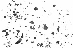 Black coal chunks, shattered pieces isolated on white background and texture, top view