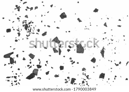Black coal chunks, shattered pieces isolated on white background and texture, top view Stockfoto ©