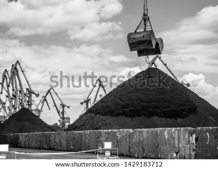Black coal in the industrial port. Reload terminal. #1429183712