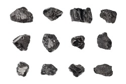 Black coal stones set on white background isolated close up, natural charcoal pieces collection, anthracite rock texture, raw coal mine nuggets, group of embers, graphite samples, mineral fossil fuel