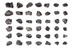 Black coal stones set white background isolated closeup, natural charcoal pieces collection, anthracite rock, raw coal mine nuggets, group of embers, graphite, mineral fossil fuel coal mining industry