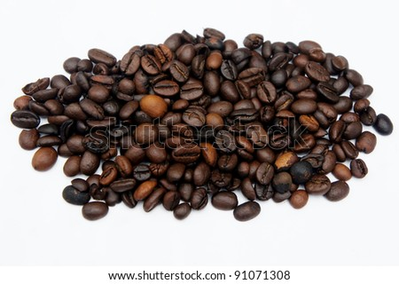 black coffee bean on isolated white background