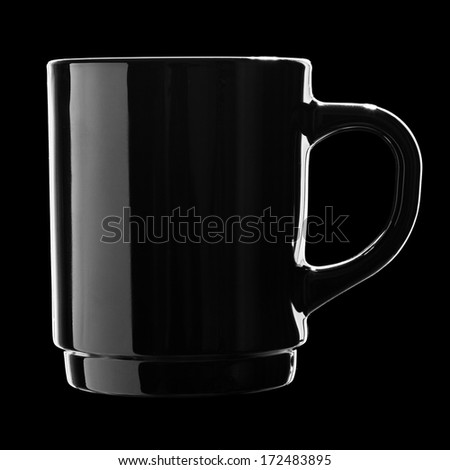 Black coffee cup isolated on black background #172483895